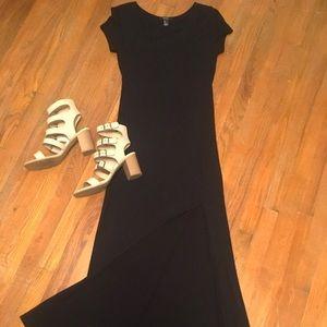 Long floor length stretchy cotton dress